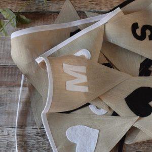 Natural Linen Wedding Bunting